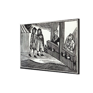 Man and Woman in the Stocks Gallery Wrap Canvas