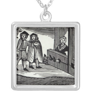 Man and Woman in the Stocks Silver Plated Necklace