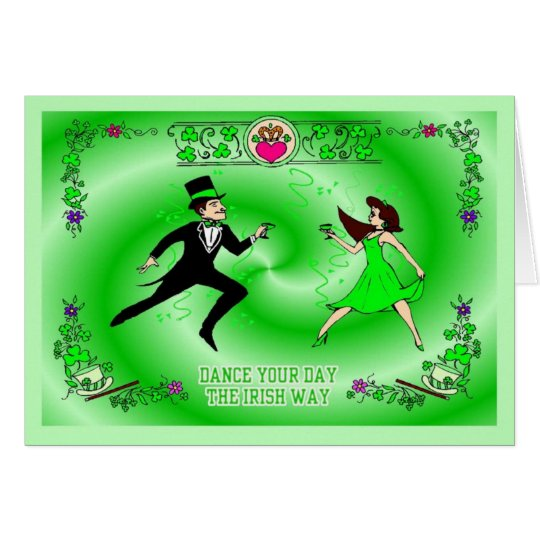 Man and Woman Irish dancing Card