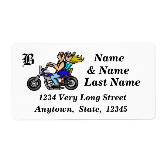 Man and Woman Motorcycle Riders Address Labels