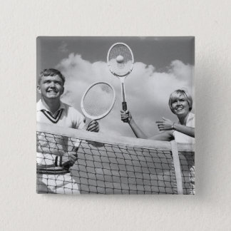 Man and Woman Playing Tennis 15 Cm Square Badge