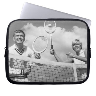 Man and Woman Playing Tennis Computer Sleeves