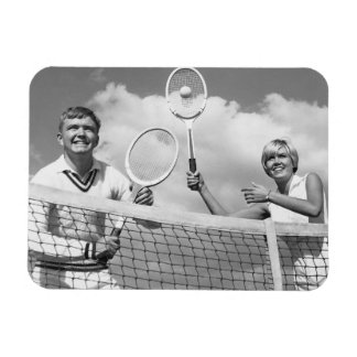 Man and Woman Playing Tennis Vinyl Magnets