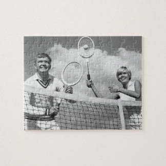 Man and Woman Playing Tennis Jigsaw Puzzle
