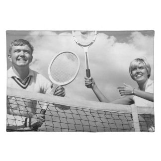 Man and Woman Playing Tennis Placemat