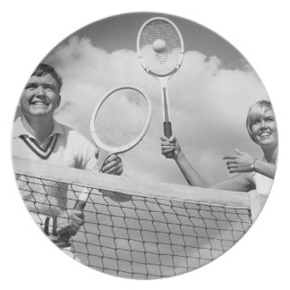 Man and Woman Playing Tennis Plate