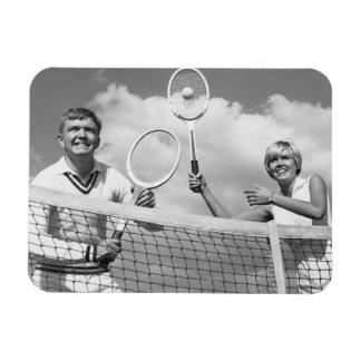 Man and Woman Playing Tennis Rectangular Photo Magnet