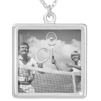 Man and Woman Playing Tennis Silver Plated Necklace