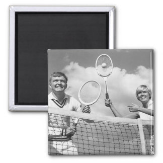 Man and Woman Playing Tennis Square Magnet
