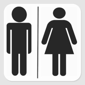 Man and Woman WC Sign Square Stickers
