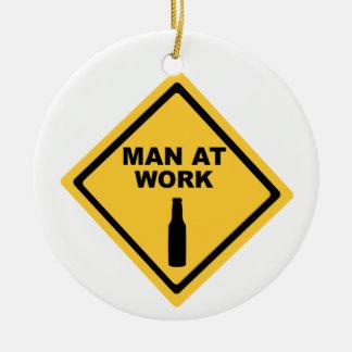 Man at Work Round Ceramic Decoration