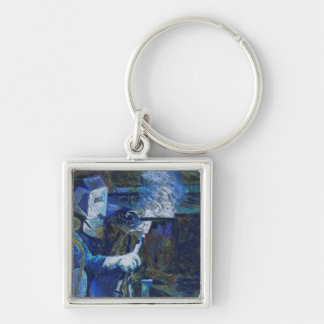 Man at Work Silver-Colored Square Key Ring