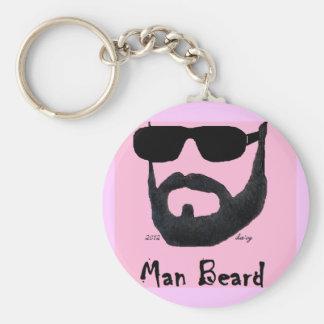 Man Beard Basic Button Keychain Set by: da'vy