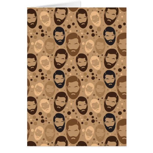 MAN BEARD pattern repeating Greeting Cards