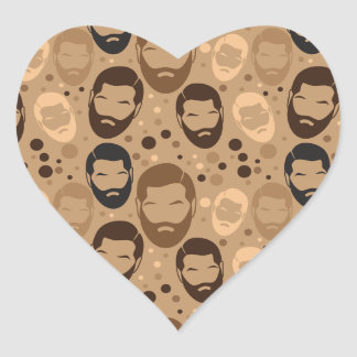 MAN BEARD pattern repeating Heart Sticker