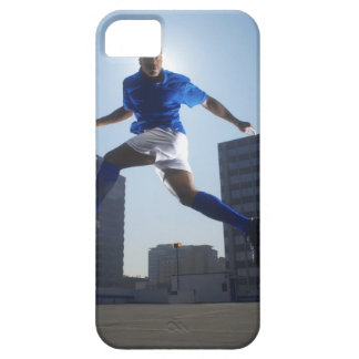 Man bouncing soccer ball on his head iPhone 5 cases