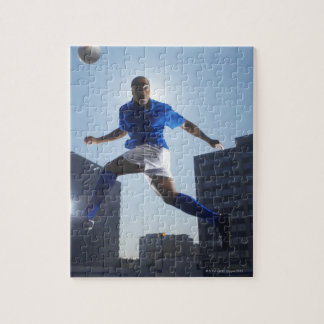 Man bouncing soccer ball on his head jigsaw puzzle