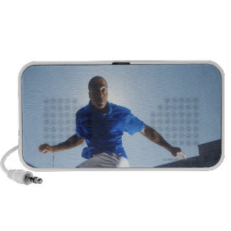 Man bouncing soccer ball on his head PC speakers
