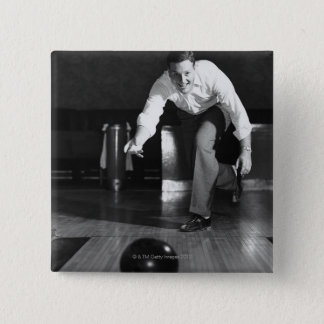 Man Bowling 15 Cm Square Badge