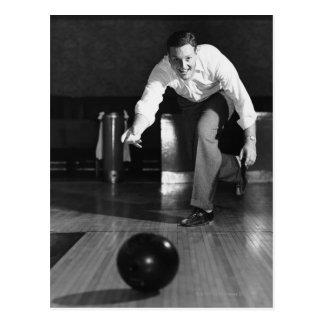 Man Bowling Postcard