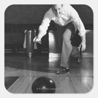 Man Bowling Square Sticker