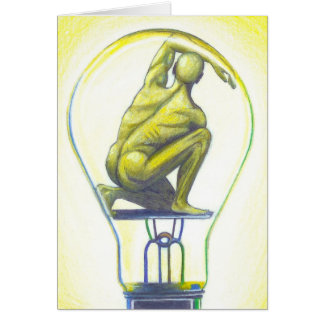 """Man Bulb"" Surreal Art Notecard by Ashazart"