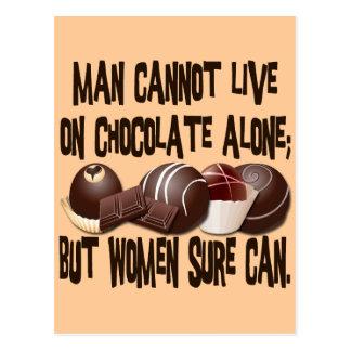 MAN CANNOT LIVE ON CHOCOLATE ALONE POSTCARD