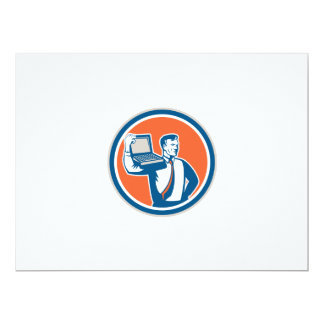 Man Carrying Computer Laptop Circle Retro 17 Cm X 22 Cm Invitation Card
