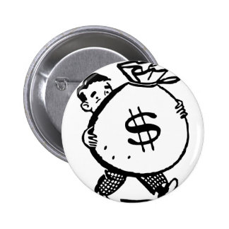 Man Carrying Money Bag Dollar Sign 6 Cm Round Badge
