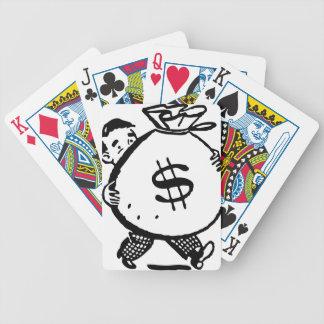 Man Carrying Money Bag Dollar Sign Bicycle Playing Cards