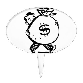 Man Carrying Money Bag Dollar Sign Cake Toppers