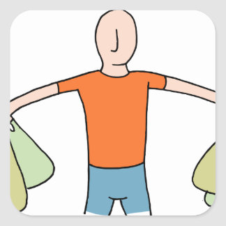 Man Carrying Plastic Grocery Bags Square Sticker