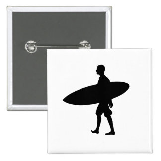 Man Carrying Surfboard II 15 Cm Square Badge