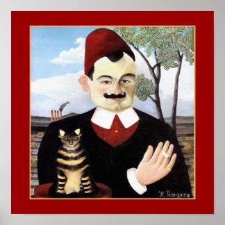 Man & Cat by Henri Rousseau Poster