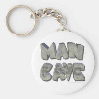Man Cave 3D Stone Look Letters for Father or Him Basic Round Button Key Ring
