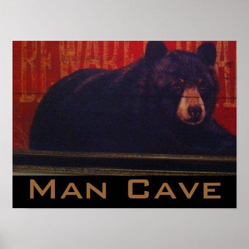 Man Cave Gifts Uk : Man cave black bear poster zazzle