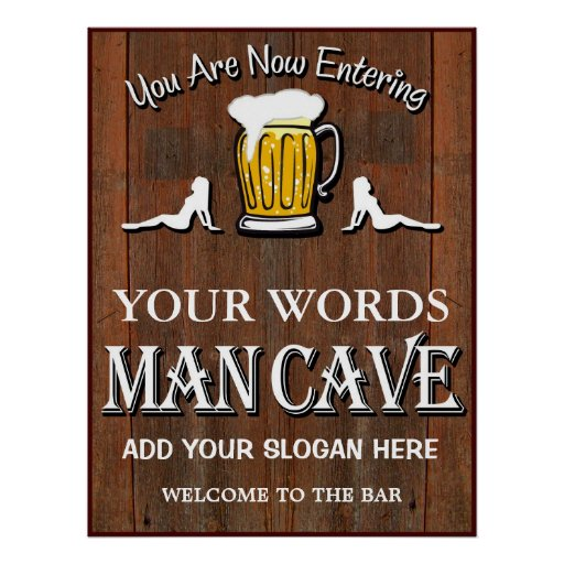 Man Cave Signs Personalized Uk : Man cave custom bar sign poster zazzle