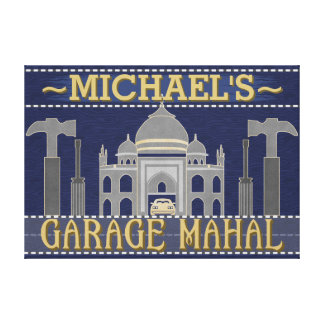 Man Cave Funny Garage Mahal Tools | Custom Name Canvas Print