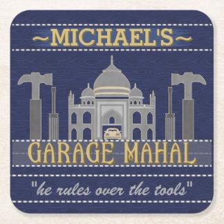 Man Cave Funny Garage Mahal Tools | Custom Name Square Paper Coaster