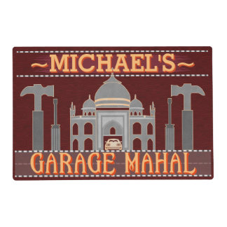 Man Cave Funny Garage Mahal Tools | Custom Name V2 Laminated Placemat