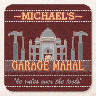Man Cave Funny Garage Mahal Tools | Custom Name V2 Square Paper Coaster