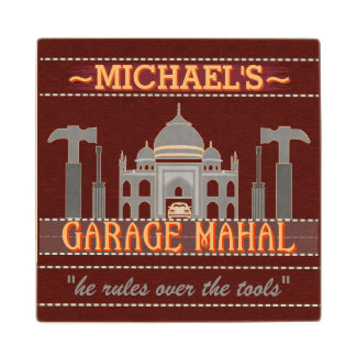 Man Cave Funny Garage Mahal Tools | Custom Name V2 Wood Coaster