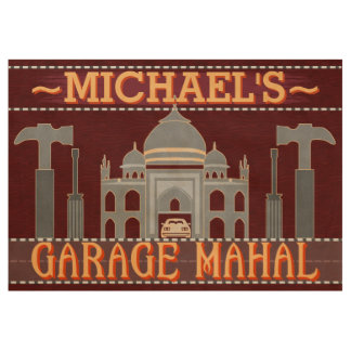 Man Cave Funny Garage Mahal Tools | Custom Name V2 Wood Poster