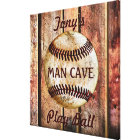 Man Cave Personalised Baseball Wall Art Your Text