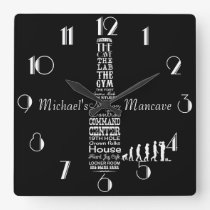 Man-cave Personalised Black and White Square Wall Clock