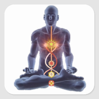 man chakras square sticker