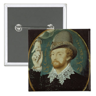 Man clasping hand from a cloud 15 cm square badge