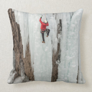 Man climbing ice, Colorado Cushion
