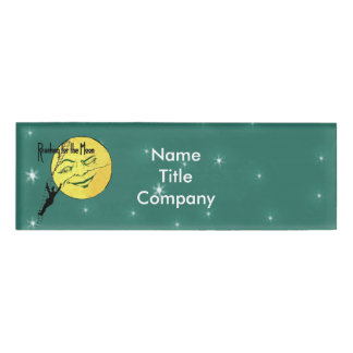 Man Climbing to Winking Yellow Moon Shining Stars Name Tag