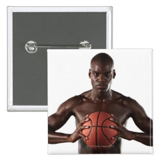 Man clutching basketball 15 cm square badge